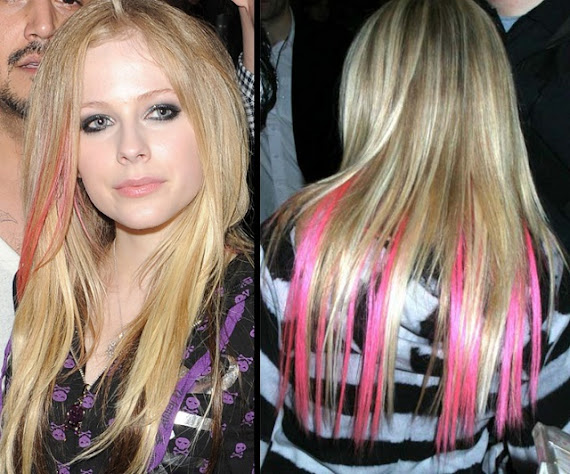 como ter mechas coloridas Avril Lavigne