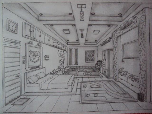 """Teknik  Membuat Gambar Perspektif Satu Titik Lenyap """"Desain Interior"""""""