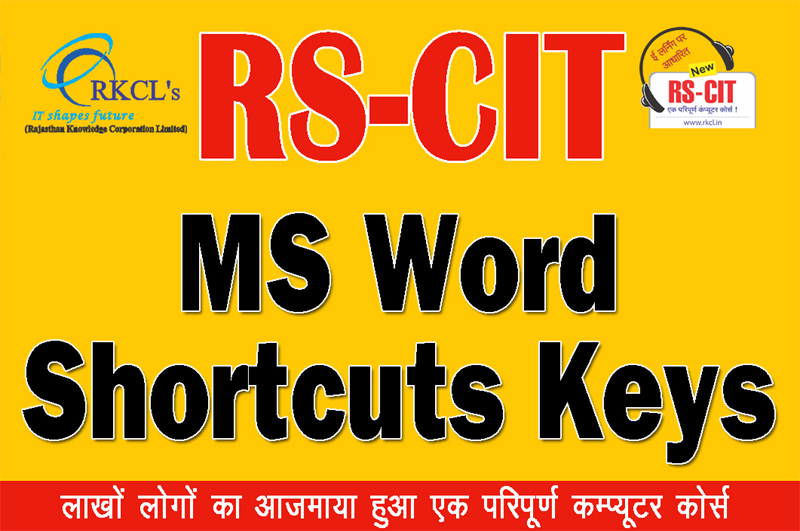 """MS Word Shortcuts Keys 