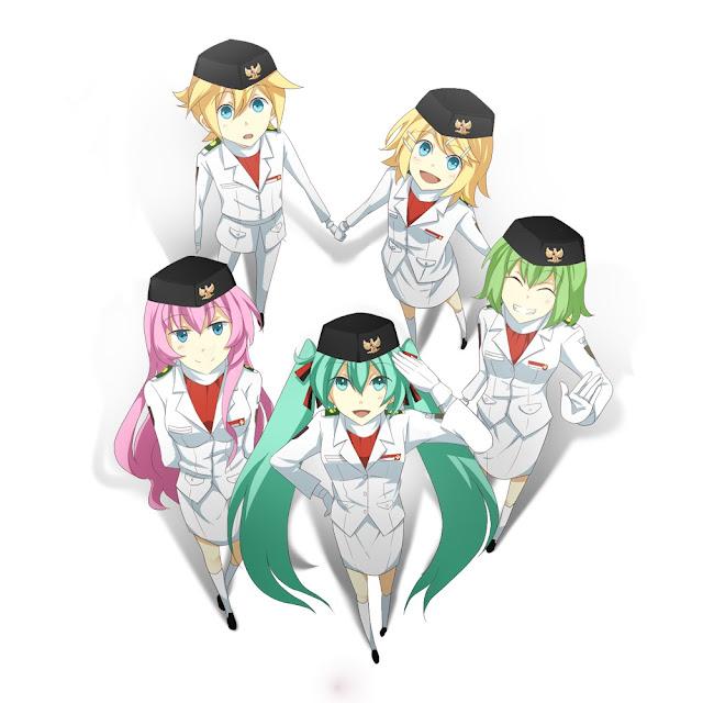 Download lagu Miku, Len, Kaito, Rin, Meiko & Luka - Indonesia Raya