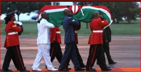 kenyan soldiers carrying a casket of the fallen kenyan doctor in cuba