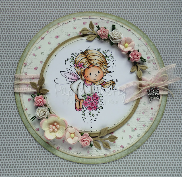 Girly pink fairy card with lots of flowers (image from Wee Stamps for Whimsy Stamps)