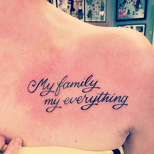my family tattoo for collar bone