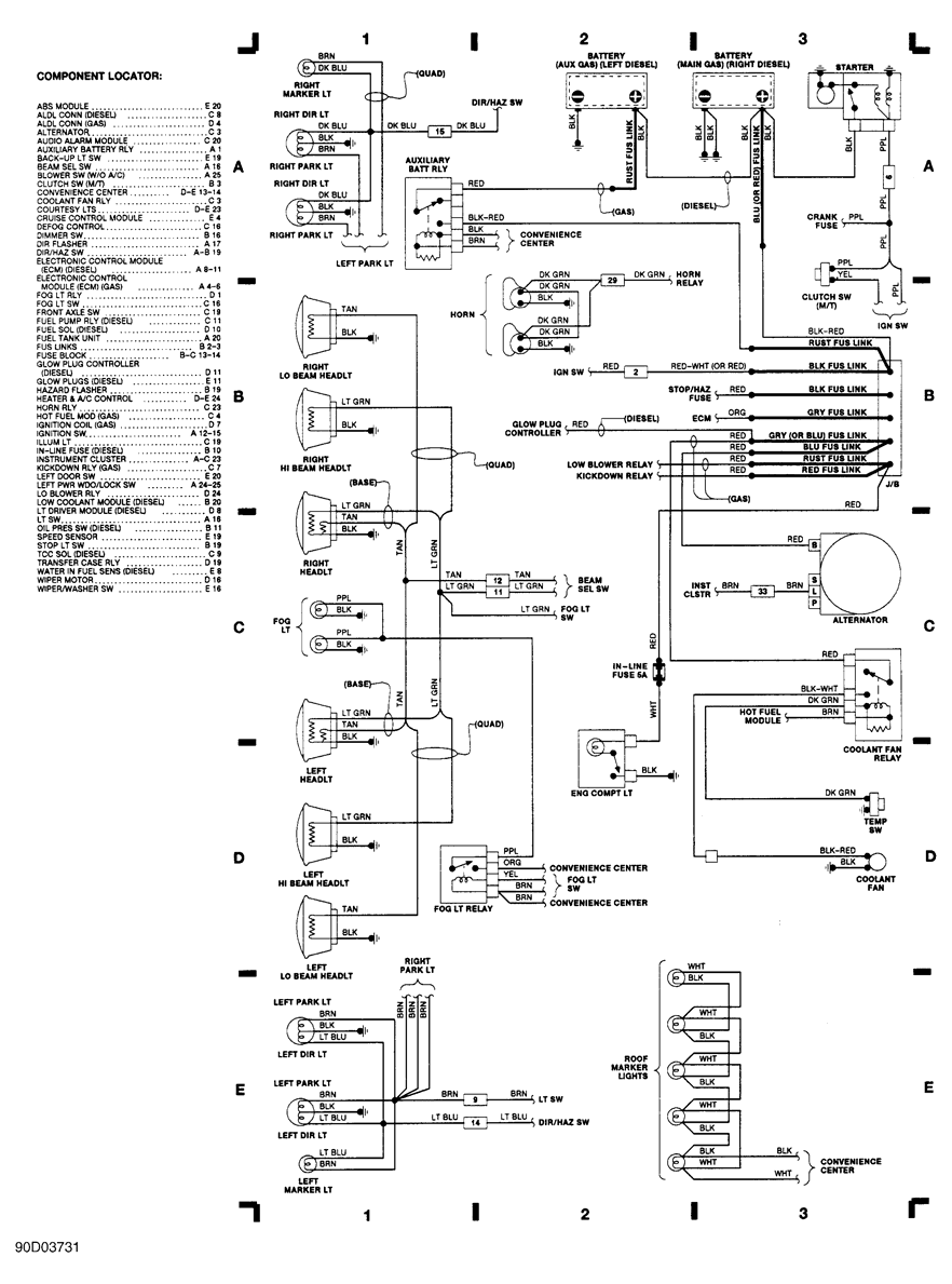 1989 chevy 1500 battery wiring diagram 1990 chevrolet pickup k1500 wiring diagrams | schematic ... 1989 club car battery wiring diagram schematic #9