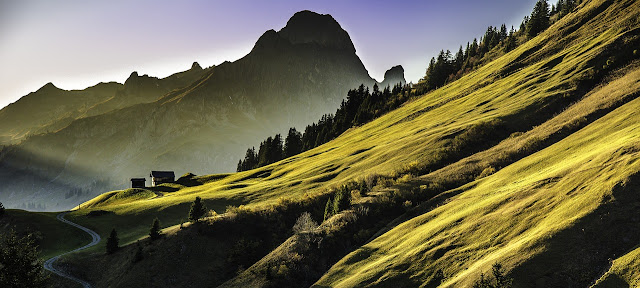 Amazing green mountains in summer, on a sunny day