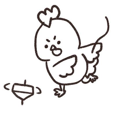 コマ回しをするニワトリのイラスト(酉年・白黒線画)