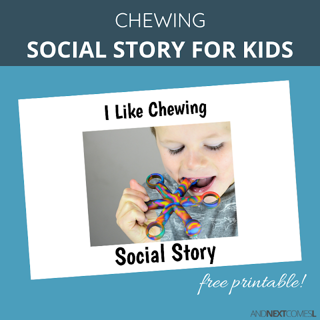 Free printable social story for kids with autism about chewing on things