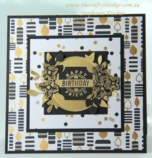 #thecraftythinker  #stampinup  #blackandgoldcard  #cardmaking  #rubberstamping  #foliageframe , Black & Gold card, Darling Label Punch, Foliage Frames, Broadway Bound, Stampin' Up Australia Demonstrator, Stephanie Fischer, Sydney NSW