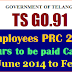 Telangana PRC 2015 Arrears from June 2014 to Feb 2015 to be paid in Cash-TS Govt Orders GO.91