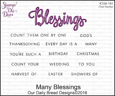 Our Daily Bread Designs Stamp/Die Duos: Many Blessings