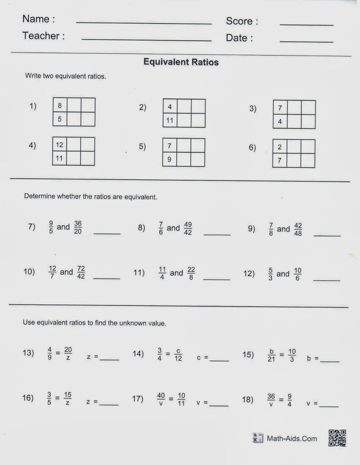 Mrs White S 6th Grade Math Blog Equivalent Ratios