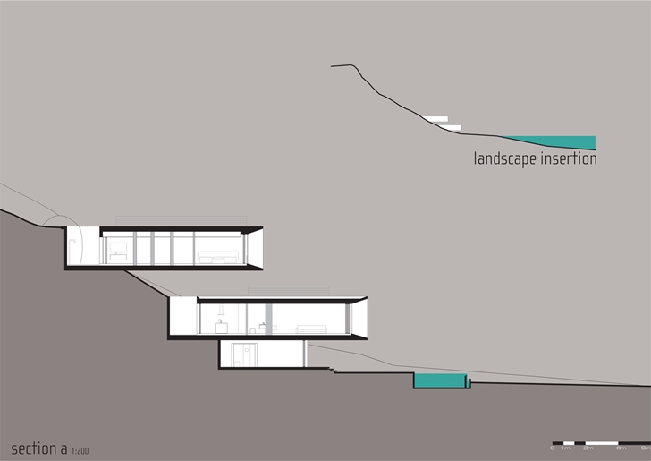 Section of Modern beach house in Brazil by Marcio Kogan
