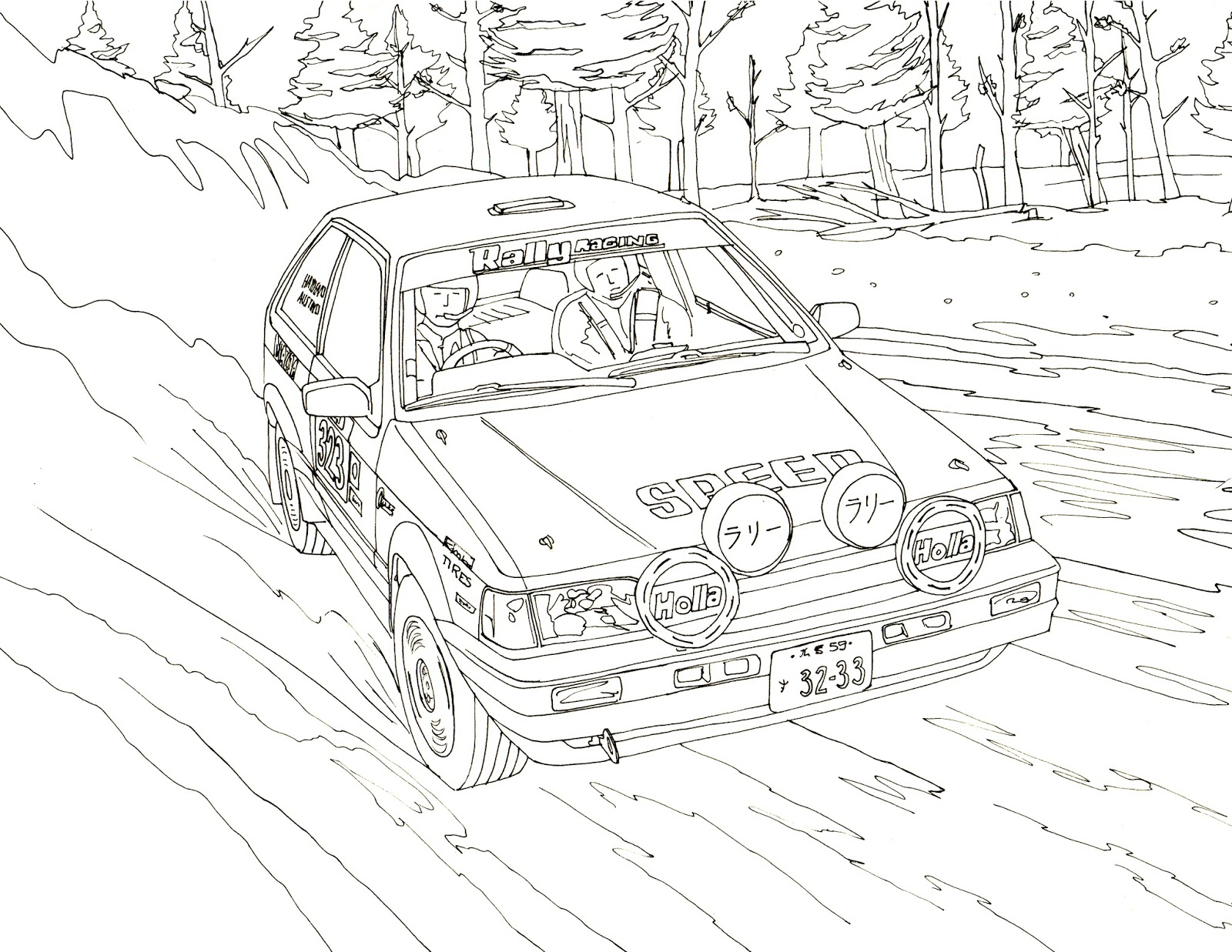 Rally car coloring pages