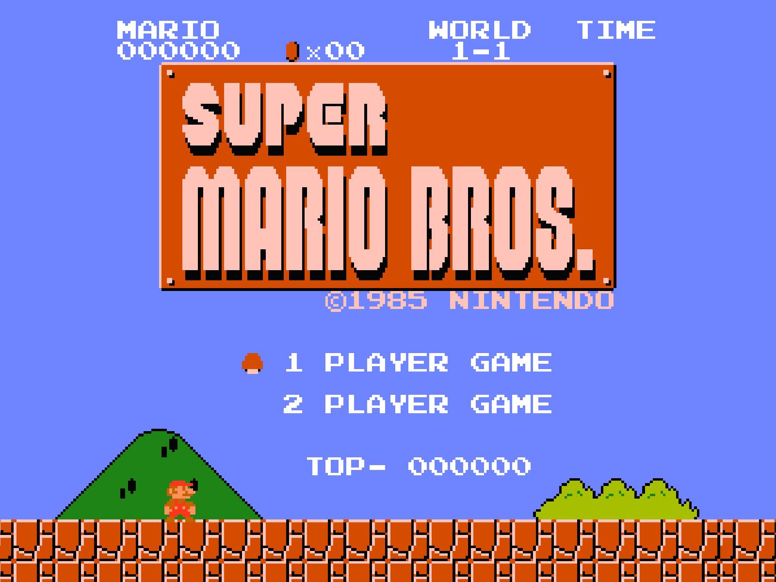 Ecran principal du jeu Super Mario Bros