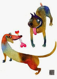 dachshund love bone illustration by Masha D'yans