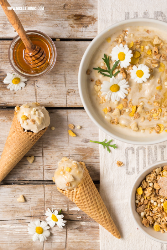 Kamillen Eis Chamomile Ice Cream Recipe with Honey and Crunch