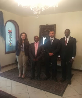 Hon Teddy Mwambire with Egypt diplomats. PHOTO | FILE