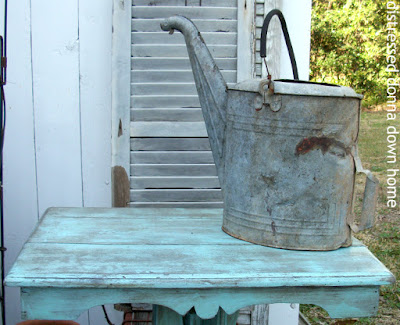 Table make over, primitive, patina, prairie style, Krylon Cool Ocean Breeze