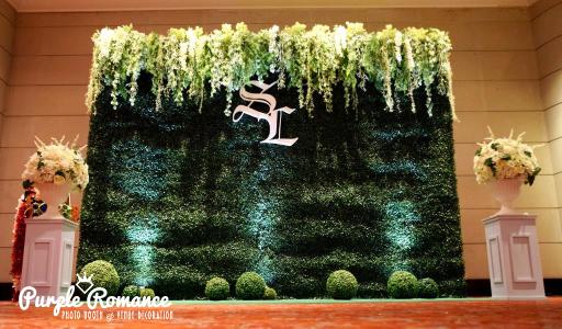 grass backdrop, malaysia, kuala lumpur, selangor, initial, monogram, floral, flower stands, green grass balls, carpet, logo, spotlights, decorator vendor, modern, elegant, garden