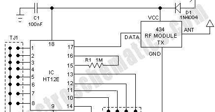 Circuit Schematic 434MHz RF Based Wireless Remote Control