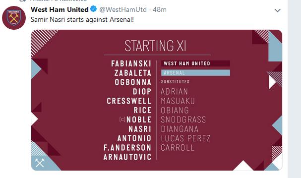 West Ham Vs Arsenal Lineups