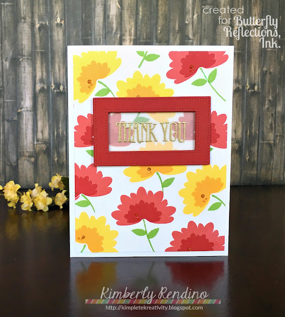 wplus9   summer blooms   kimpletekreativity.blogspot.com   butterfly reflections ink   handmade card   clear stamps   papercraft   cardmaking   flowers   nuvo drops