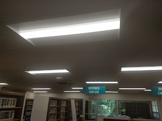 Light fixtures above the audiobooks section of Little Falls Library