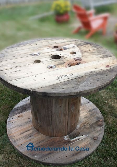 wood, repurpose, wire spool