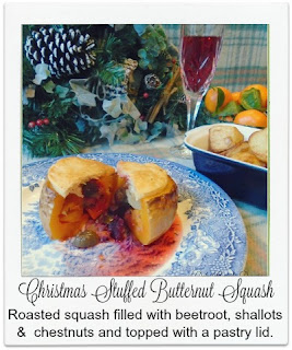 Roasted butternut squash stuffed with beetroot, shallots & sweet chestnuts and finished with a pastry lid provides a delicious meat free option for vegetarian guests this Christmas time.
