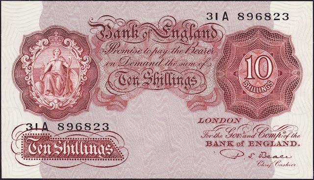 Great Britain 10 Shilling Note 1949 Britannia