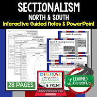 Sectionalism, American History Guided Notes, American History Interactive Notebook, Google and Print, American History Note Taking, American History PowerPoints, American History Anticipatory Guides