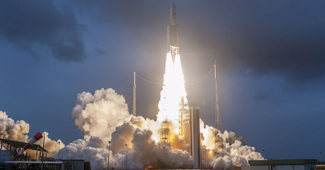 Ariane 5 launch with GSAT-11 and Geo-Kompsat-2A. Credit: Arianespace