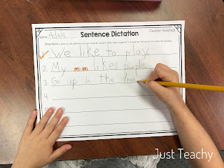 Sentence Dictation: handwriting, spaces, capitalization, punctuation, sounding out words