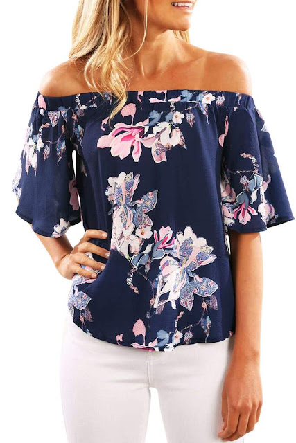 Iyasson Off Shoulder Floral Tops