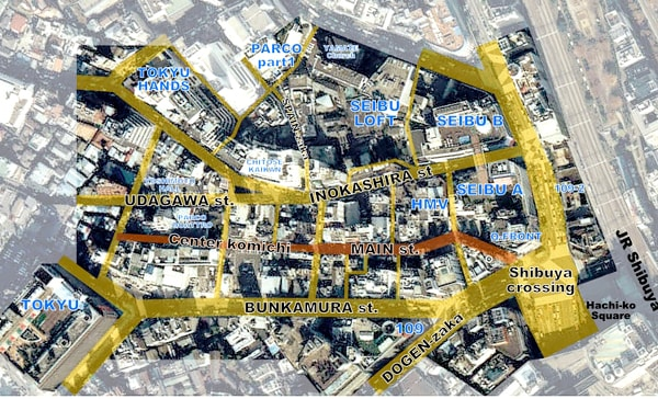 Map of Shibuya district