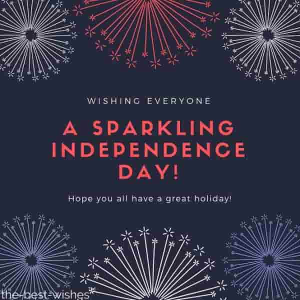 wishing everyone a sparkling independence day hope you all have a great holiday