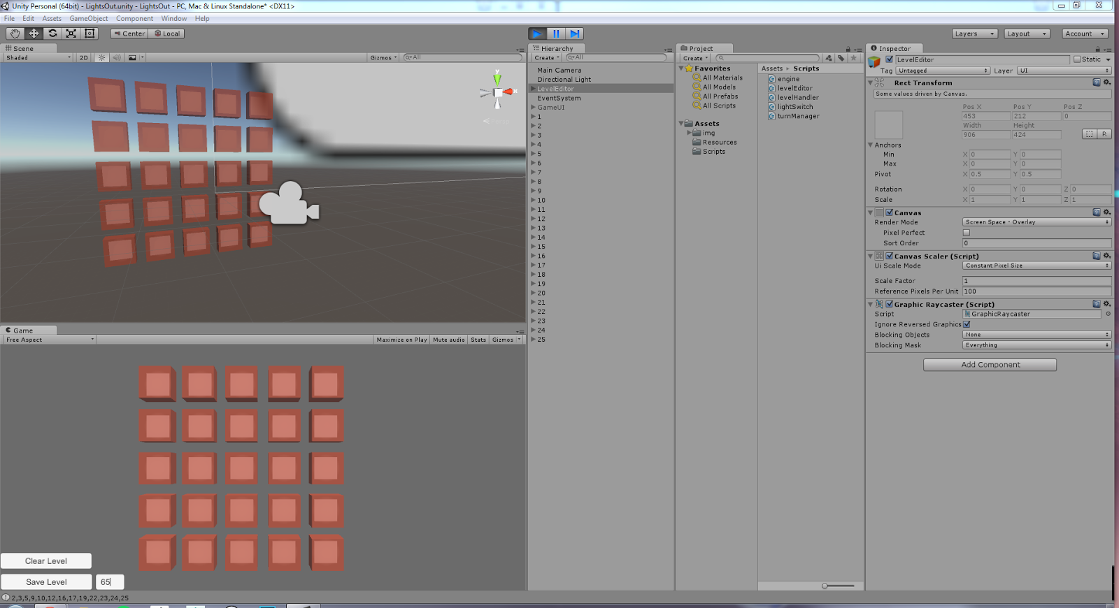 Game Art Blog: Making a Lights Out Game in Unity 5 - Part 2