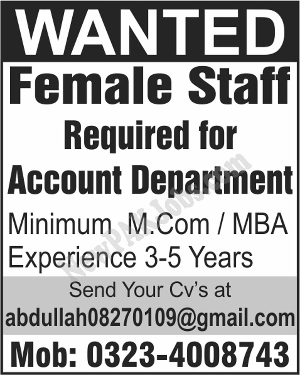 Female Accountant Jobs Apply through Email