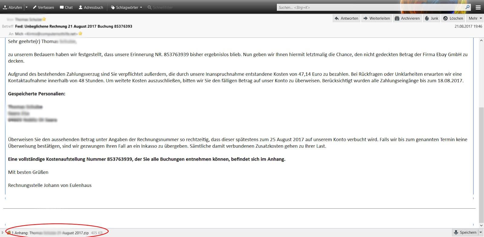 malware und ich fake rechnung von ebay post von herrn. Black Bedroom Furniture Sets. Home Design Ideas