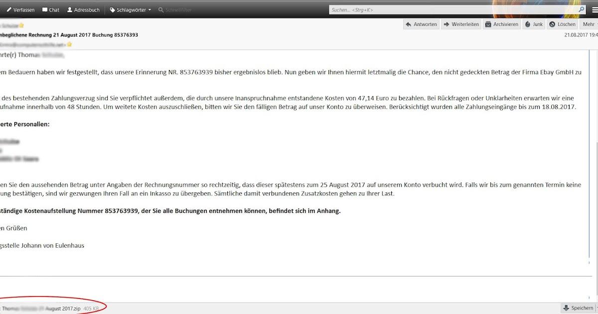 malware und ich fake rechnung von ebay post von herrn eulenhaus. Black Bedroom Furniture Sets. Home Design Ideas