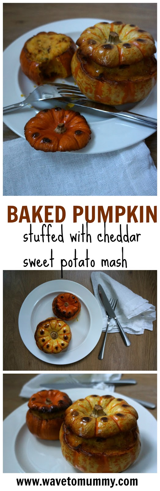 baked stuffed pumpkin with cheddar sweet potato mash