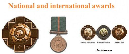 राष्ट्रिय एवं अन्तराष्ट्रीय पुरस्कार -  National and international awards in Hindi
