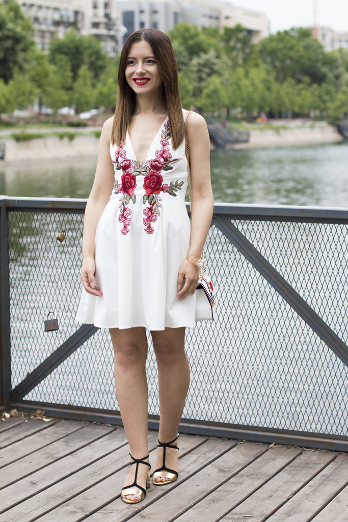 white dress with rose appliques