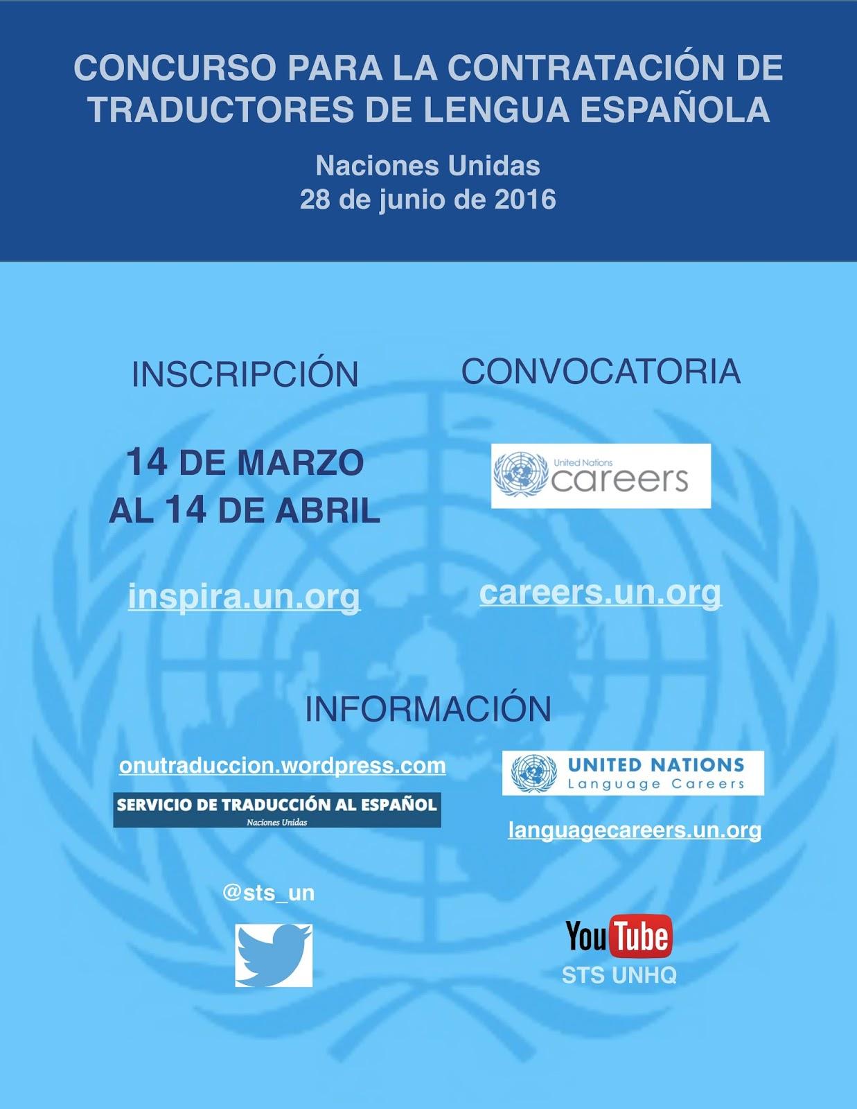 C rculo de traductores convocatoria onu examen para for Convocatorias para profesores 2016