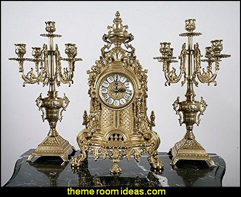 Solid Brass Baroque Mantel Clock & Candelabra Set