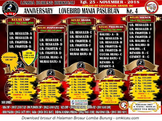 Anniversary Lovebird Mania Pasuruan Ke-4, Minggu, 25 November 2018