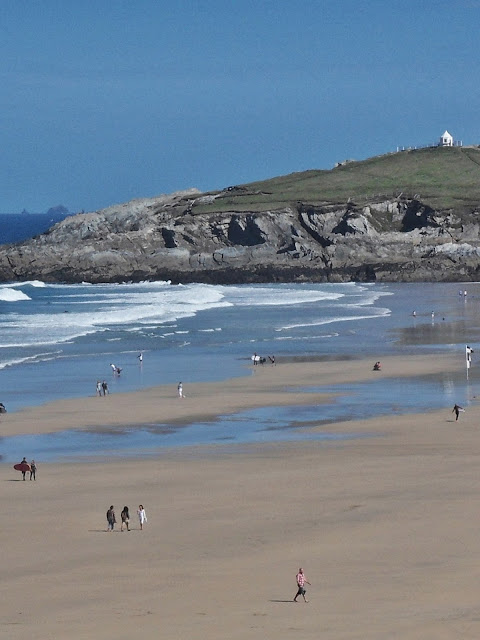 Fistral Beach, Newquay, Cornwall showing the Huers Hut