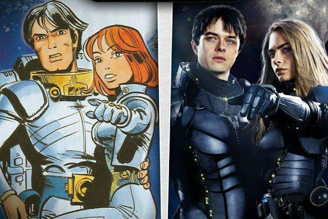 Los personajes Valérian y Laureline en el cómic original y en la película de Luc Besson Valerian y la ciudad de los mil planetas