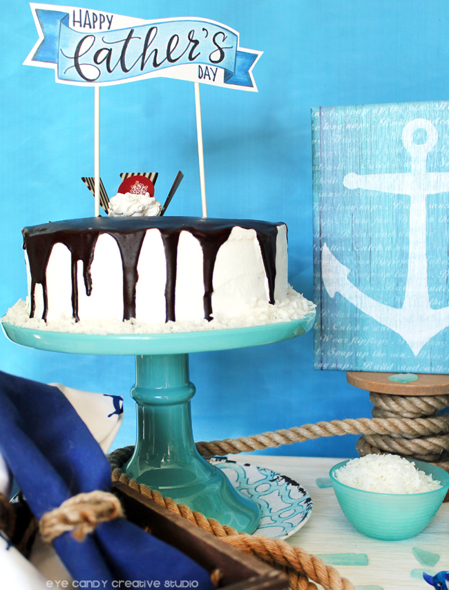beach theme, rope, ice cream cake, anchor, cold stone creamery