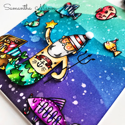 Sea-sons Greetings Card by Samantha Mann, Waffle Flower, Christmas Cards, Cards, Distress Inks, Ink blending, Get Cracking on Christmas, under the sea, #waffleflower #getcrackingonchristmas #cards #christmascards #christmas #distressinks #inkblending